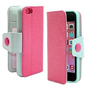 LZX Beautiful Double Color Multi Card Slot Collapsible Holster for iPhone 5C (Assorted Colors) , Rose