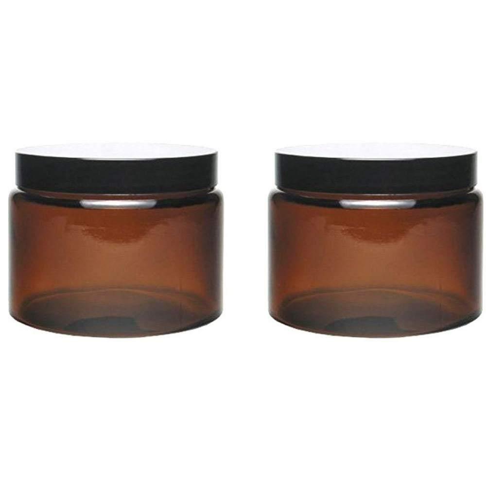 Mikken 2 Glass Jars 500 ml / Ointment Jars / Cream Jars Brown Glass with Labelling Labels Glass Jars 11 x 11 x 8.5 cm 2 Units