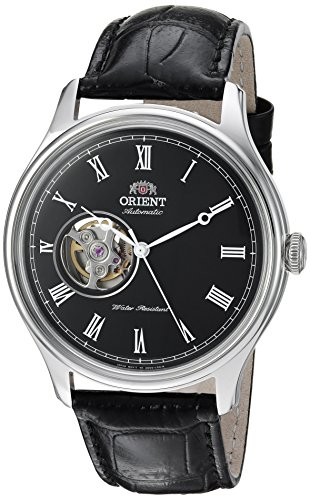 - Orient Men's Envoy Japanese Automatic/Hand Winding Movement Stainless Steel Leather Dress Watch, Black Leather AG00003B