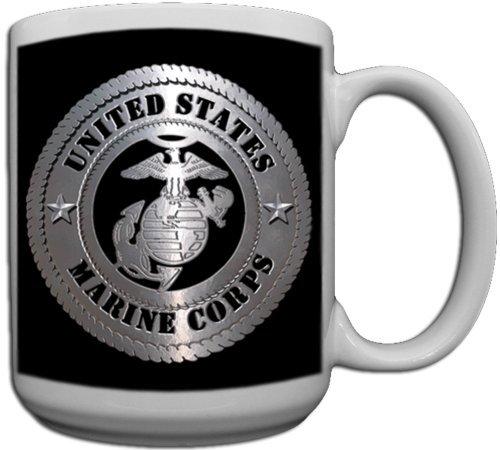 usmc coffee mug black - 1