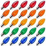 Brightown 25 Pack C9 Incandescent Bulb, C9 Replacement Bulb for Christmas String Light, E17 Intermediate Base, 7 Watt, Multi