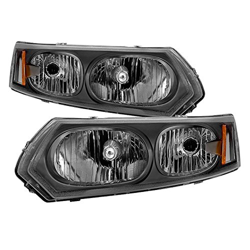 (Jdragon for Saturn 2003-2007 Ion 4dr Sedan Black Housing Replacement Headlights Pair Set 1 2)