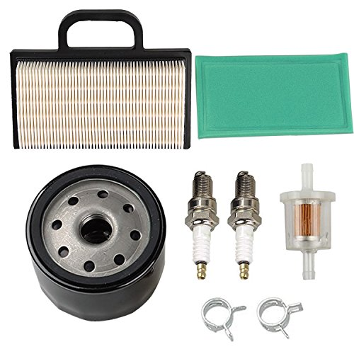 HIFROM 698754 273638 Air Filter 691035 Fuel Filter 696854 Oil Filter Spark Plug for Briggs & Stratton Intek Extended Life Series V-Twin 18-26 HP Lawn Mower