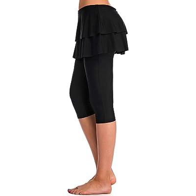 Labelar Skirted Swim Capris Women Layered Ruffle Swimming Skirt with Leggings Pants: Clothing