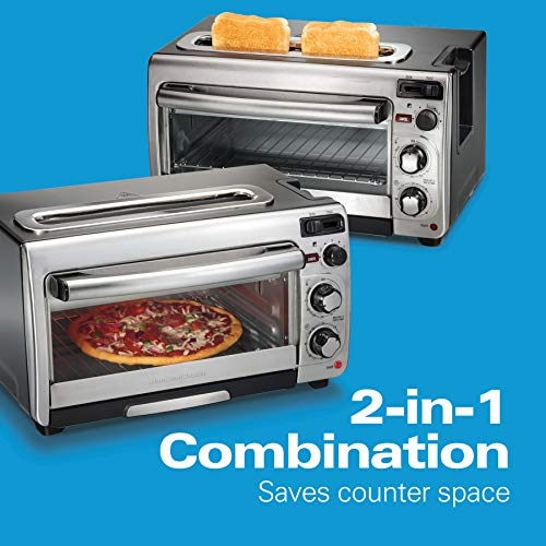 Hamilton Beach 2-In-1 Countertop Oven And Long Slot Toaster, Stainless Steel, 60 Minute Timer And Automatic Shut Off (31156), Large