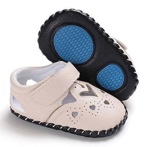 Meckior Infant Baby Girls Sandas Summer Soft Leather No-Slip Princess Shoes (6-12 Months, E-Beige)