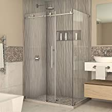 DreamLine Enigma-X 34 1/2-Inch by 48 3/8-Inch Fully Frameless Sliding Shower Enclosure, Polished Stainless Steel Finish, SHEN-6134480-08