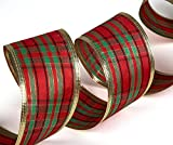 "SANNO Christmas Wired Ribbon, Assorted Plaid Sparkling Decorations Wired Sheer Glitter Tulle Ribbon 36 Yards (2.5"" Wide x 6Yard Each) - Floral Poinsettia Plaid Gold"