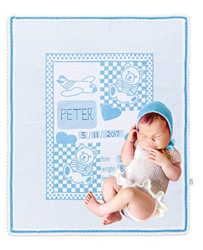 (Chiara Rose Milestone Newborn Baby Blanket Personalized Photography Background First Day Toddler Blanket Teddy Bear Blue)