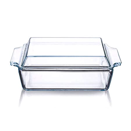 Cacerola rectangular de vidrio transparente con tapa de vidrio ...
