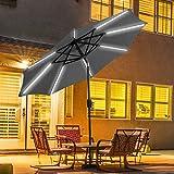 TANGKULA 9ft Patio Umbrella Outdoor Tilt Umbrella Lawn Garden Balcony Sunshade Tent Rain Shelter Patio Furniture Solar Led Light(Grey)