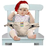 The Washable Portable Travel High Chair Booster Baby Seat with straps Toddler Safety Harness Baby feeding the strap (6 Color) ( Khaki)