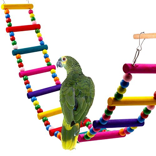 DEHEOBI Large Parrot Colorful Wooden Beads Climbing Ladder Stand Bird Toy (12 ladders) by DEHEOBI