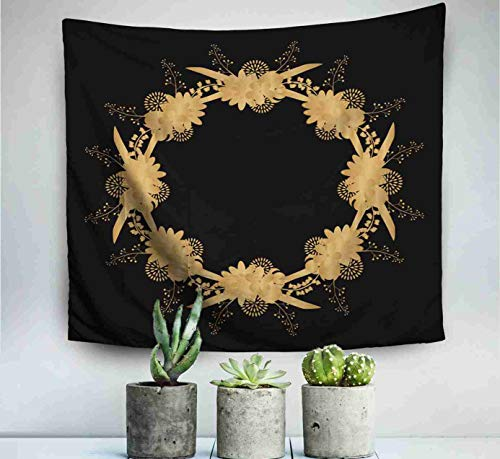 - ROOLAYS Home Art Decor Wall Hanging Tapestry Gold Round Frame Floral Elements Greeting Card Place Gold Menu Invitation Border with 80x60 Inches for Living Room Dorm Background Tapestries