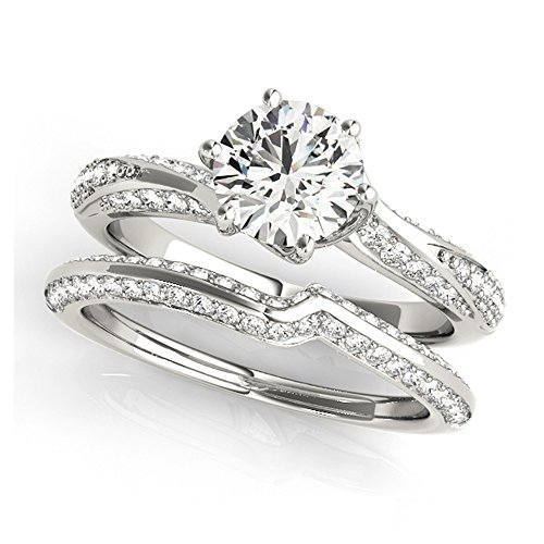 14K White Gold Unique Wedding Diamond Bridal Set Style MT50962