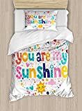 Ambesonne Quote Duvet Cover Set Twin Size, Heart Shaped Sunshine Motivational Quote with Stars Circle Sun Cloud Infant Design, Decorative 2 Piece Bedding Set with 1 Pillow Sham, Multicolor