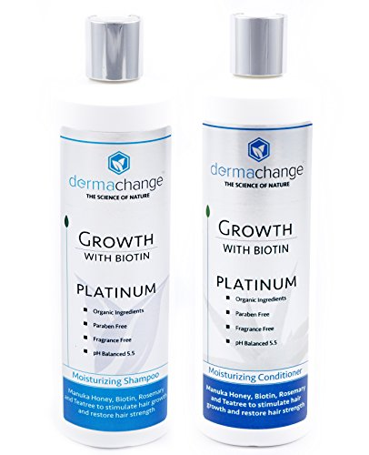 Hair Growth Organic Shampoo & Conditioner Set - With Biotin and Argan Oil - Supports Regrowth & Prevents Hair Loss - For Dry Damaged & Color-Treated Hair - Sulfate & Paraben Free (16oz) - Made in USA by DermaChange