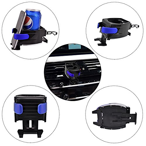 Vehicle Automobile Blue Car Cup Holder Adjustable 2 in 1 Car Drink Stand Cell phone Holder Air Vent Mount For iPhone 6S 7 8 Plus Samsung S8,LG HTC Smartphone moblie