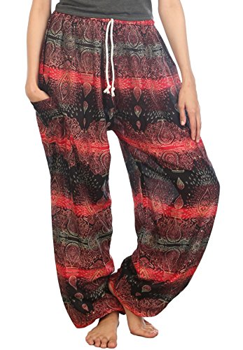 Lofbaz Mujeres Harén Pantalones de cintura de cordón Ropa Boho Yoga Oval Rojo
