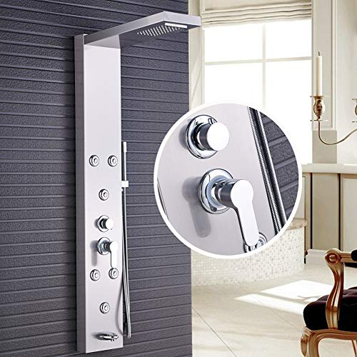Votamuta Wall Mounted Stainless Steel Shower Panel Head Stainless Steel Rainfall Multi-Function Tower Massage Systerm Wall Mount with 6 Body Jets,Waterfall Tub Spout