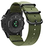 Fintie Band for Garmin Fenix 5X Plus/Fenix 3 HR Watch, Premium Woven Nylon Bands Adjustable Replacement Strap for Fenix 5X/5X Plus/3/3 HR Smartwatch - Olive