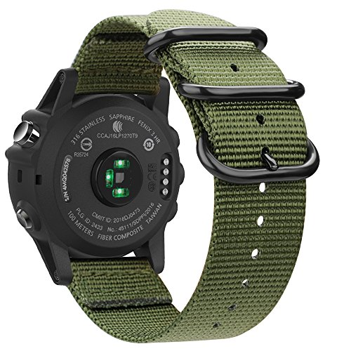 Fintie Band for Garmin Fenix 5X Plus/Fenix 3 HR Watch, Premium Woven Nylon Bands Adjustable Replacement Strap for Fenix 5X/5X Plus/3/3 HR Smartwatch - Olive by Fintie