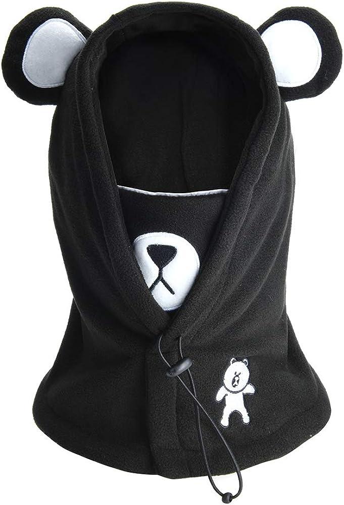 Ruiqas Kids Winter Warmer Hat Baby Girls Boys Windproof Knit Fleece Lined Earflap Hood Skull Cap for 2-5 Years Pink