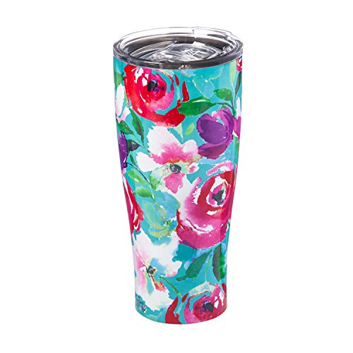 Cypress Home Boho Floral Party Stainless Steel Hot Beverage Travel Cup, 17 ounces by Cypress Home