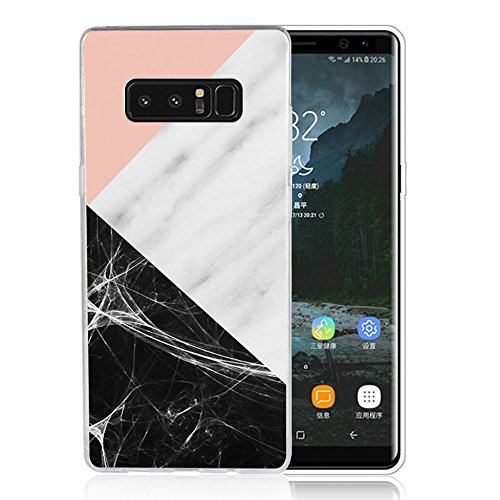 - Note 8 Case Pink marble patchwork design, LAACO Scratch Resistant TPU Gel Rubber Soft Skin Silicone Protective Case Cover for Samsung Galaxy Note 8