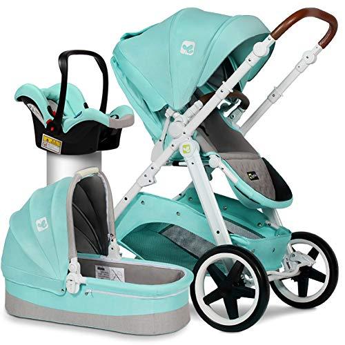 SJZQ Lightweight Baby Stroller Convertible Reversible Pram Newborn and Toddler Baby Carriage 0298,Green