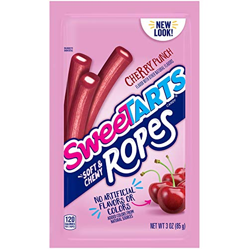 SweeTARTS Soft and Chewy Ropes, Cherry Punch, 3 Ounces (Pack of 12)