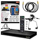 Sony UBP-X800/UBP-UX80 (2017 Model) 4K Upscaling 3D Streaming Blu-ray Disc Player With Wifi - 6 Pack Kit - Remote Control - 3 Pc Cleaning Kit - 12 FT High speed HDMI Cable - Ear Buds (1 Year Warranty)