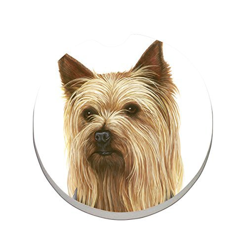 CounterArt Absorbent Stoneware Car Coaster, Yorkshire Terrier (Stocking Terrier Yorkshire)