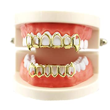 14k Gold Plated Hip Hop Teeth Grillz Caps Top Or Bottom Grill False Teeth Whitening Gold Plated Small Single Tooth Cap Sale Price Teeth Whitening Beauty & Health