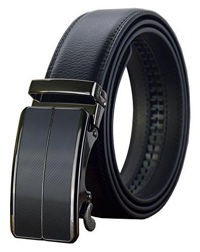 QISHI YUHUA Belt Men's Leather Ratchet Belt (◆Waist: 20