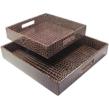 Lovely Amazon.com: WOOSAL Rectangular Alligator Leather Serving Tray with  UO05