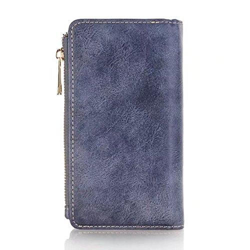 Funda desmontable 2 en 1 retro de la cartera de la bolsa de cuero de la PU con cremallera para iPhone X ( Color : Coffee ) Blue