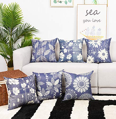 Durable Printing - Master Pillowcase Modern Geometric Flower Printing Durable Cotton Linen Decorative Throw Pillow Cover Gray Square Cushion Case for Couch Home 18 x 18 Inch Set of 6 Grey