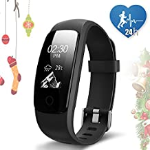 JoyGeek Fitness Tracker, Heart Rate Monitor, Smart Watch,Smart Bracelet with Guided Breathing Weather Report Music Control Sleep Monitor Pedometer Calorie Counter GPS Sports and Call/SMS Reminder for iPhone 6/6 plus/7/7 plus Samsung S7/note 7/S8 Huawei Mate 9/P9/P10(Black)