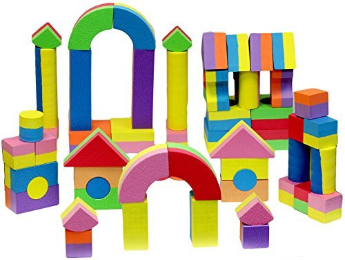 Click N' Play Non-toxic Foam Blocks, Building Block and Stacking Block, Amazing As Bath Toys, 60 Count with Carry Tote Foam Wooden Blocks