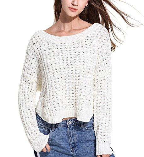 Tops O Jumper Irregolare Casuale Donna Maglione Manica Lunga Collo Sweatshirt Pullover Xsayjia Elegante White Maglieria Maglia qOCfREw7x