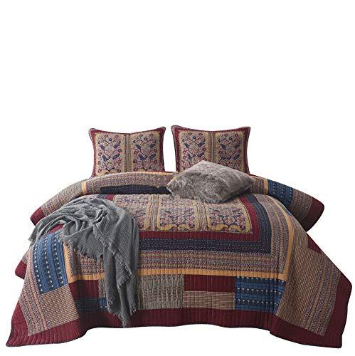 Jameswish Antique Burgundy Quilt Set 3-Piece Boho Floral Patchwork Reversible Washed 100%-Cotton Stitched Embroidery King Size Bedspread Coverlet Quilt Bedding Set