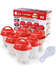 Egg Cooker Hard Boiled Eggs Without the Shell, Non Stick Silicone Egg Poachers( 6 pack Cups)