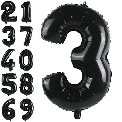 mber 3 Foil Mylar Balloons Giant Birthday Party Decorations and Anniversary Supplies ()