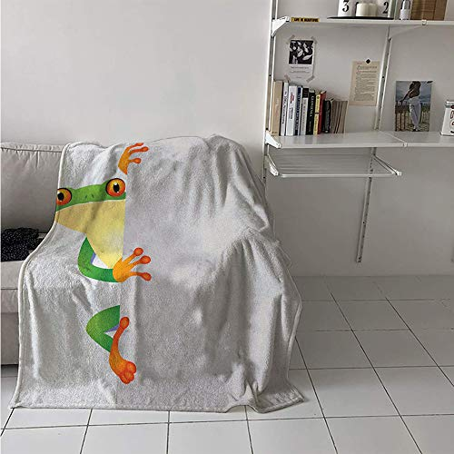 Maisi Lightweight Blanket, Funky Frog Prince with Big Eyes on Wall Camouflage Nursery Reptiles Theme, Throw Blanket for Kids 50x30 Inch Green Yellow Orange