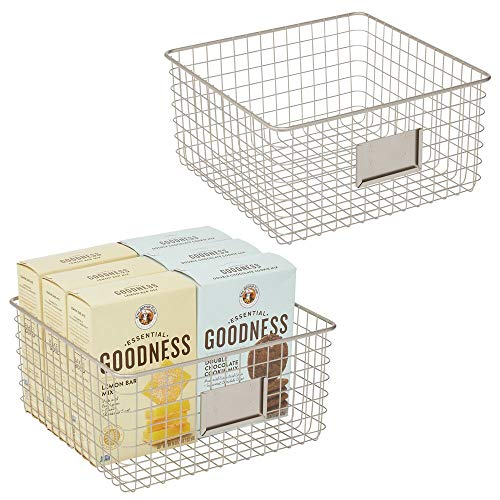 mDesign Farmhouse Decor Metal Wire Food Organizer Storage Bin Baskets with Label Slot for Kitchen Cabinets, Pantry…