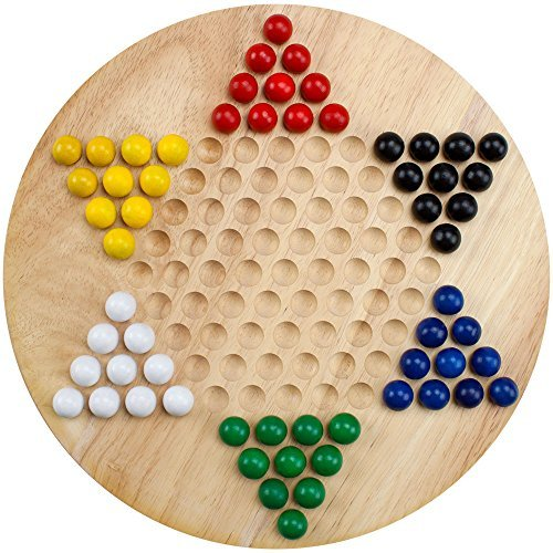 Brybelly Wooden Chinese Checkers | Made with All Natural Wooden Materials | Includes 60 Wooden Marbles in 6 Colors | All Ages Classic Strategy Game for Up to Six ()