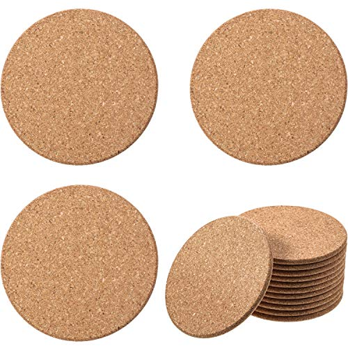 Boao Thick Tan Wooden Cork Drink Coasters, Round Circle Cork Trivets Cork Drink Coasters (0.2