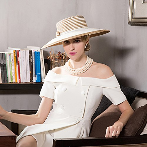 Dovaly Womens Fascinator Kentucky Derby Large Brim White Gold Striped Bowknot Sunhat by Dovaly (Image #6)