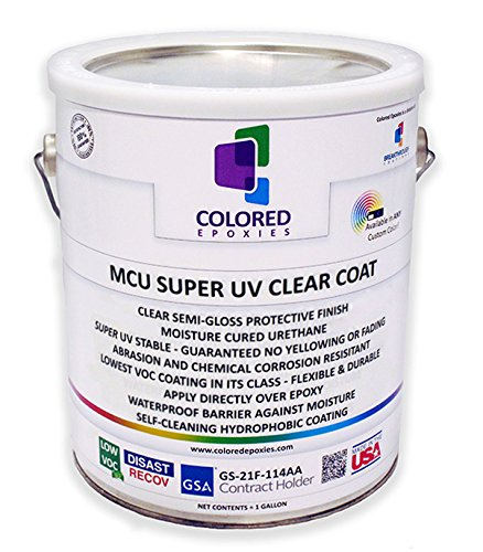 Top Coat Epoxy Finish Moisture-Cured Polyurethane, Against UV Degradation, Non yellowing, Chemical resistance, Long Lasting Wet Look (Gallon)